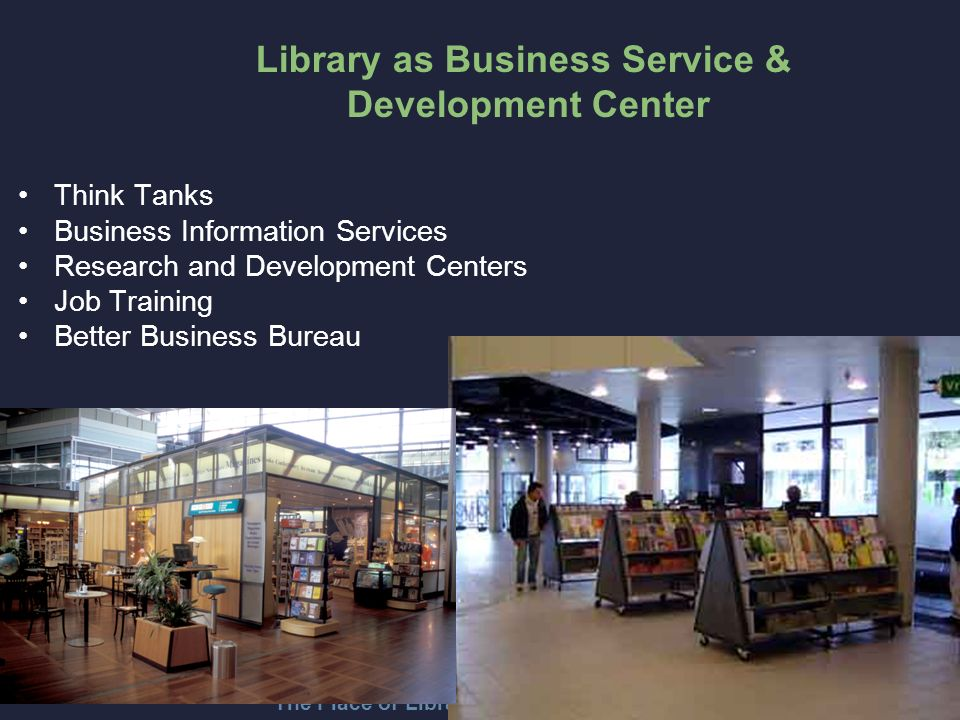 The Place of Libraries in Changing Times Think Tanks Business Information Services Research and Development Centers Job Training Better Business Bureau Library as Business Service & Development Center