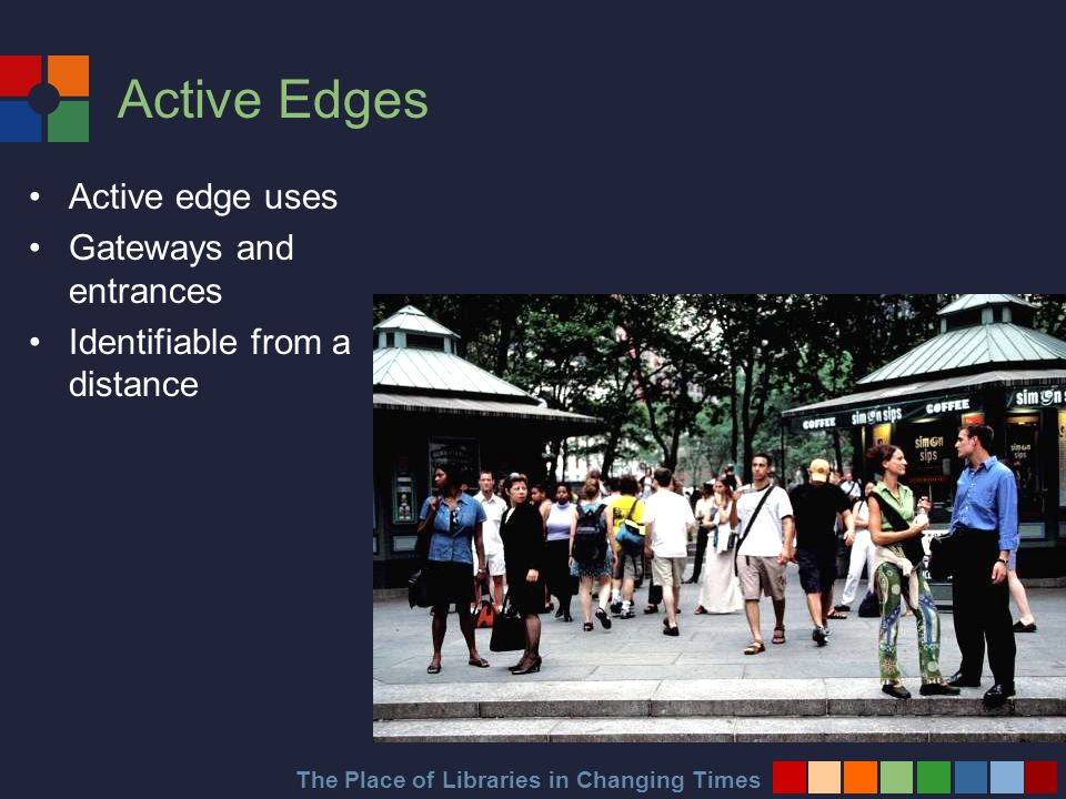 The Place of Libraries in Changing Times Active Edges Active edge uses Gateways and entrances Identifiable from a distance