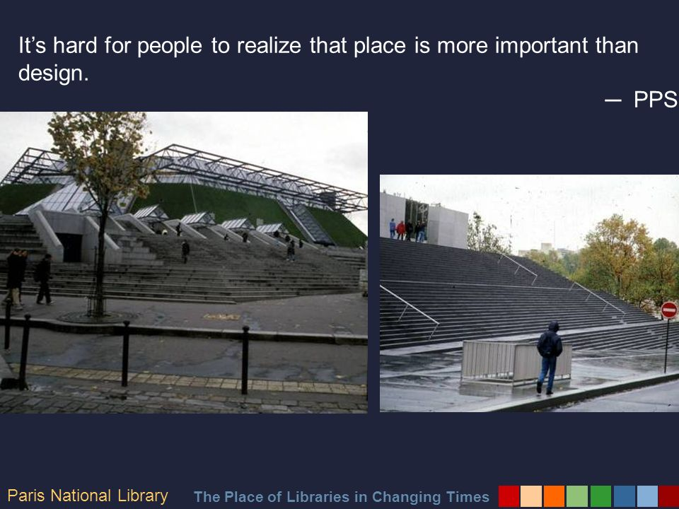 The Place of Libraries in Changing Times Good places breed healthy activity.