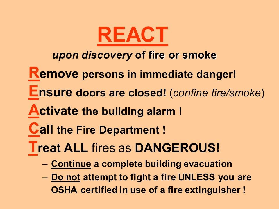In case of burning odor or smoke : Call 911 First! Notify Security - X 43434 Disconnect Equipment –Remove combustibles, if you can do so without dange