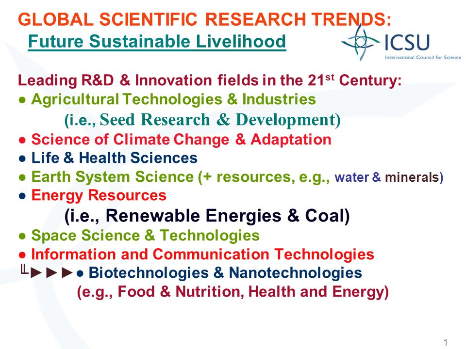 1 GLOBAL SCIENTIFIC RESEARCH TRENDS: Future Sustainable Livelihood Leading R&D & Innovation fields in the 21 st Century: Agricultural Technologies & Industries (i.e., Seed Research & Development) Science of Climate Change & Adaptation Life & Health Sciences Earth System Science (+ resources, e.g., water & minerals) Energy Resources (i.e., Renewable Energies & Coal) Space Science & Technologies Information and Communication Technologies Biotechnologies & Nanotechnologies (e.g., Food & Nutrition, Health and Energy)