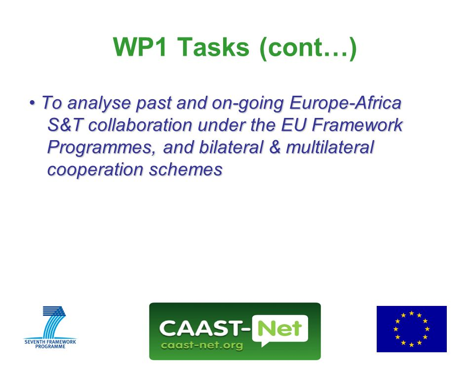 Network for the Coordination and Advancement of Sub-Saharan Africa-Europe Science and Technology Cooperation GRANT AGREEMENT NUMBER Wednesday, 30 July WP1 Tasks (cont…) To analyse past and on-going Europe-Africa S&T collaboration under the EU Framework Programmes, and bilateral & multilateral cooperation schemes To analyse past and on-going Europe-Africa S&T collaboration under the EU Framework Programmes, and bilateral & multilateral cooperation schemes