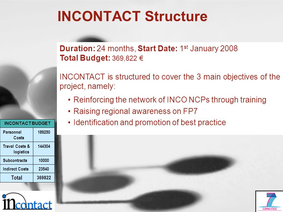 INCONTACT Structure Duration: 24 months, Start Date: 1 st January 2008 Total Budget: 369,822 INCONTACT is structured to cover the 3 main objectives of the project, namely: Reinforcing the network of INCO NCPs through training Raising regional awareness on FP7 Identification and promotion of best practice INCONTACT BUDGET Personnel Costs 189250 Travel Costs & logistics 144304 Subcontracts10000 Indirect Costs23540 Total 369822