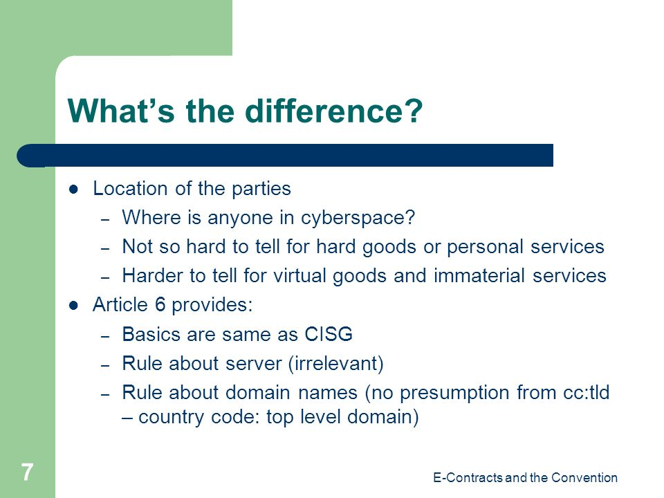 E-Contracts and the Convention 7 Whats the difference.