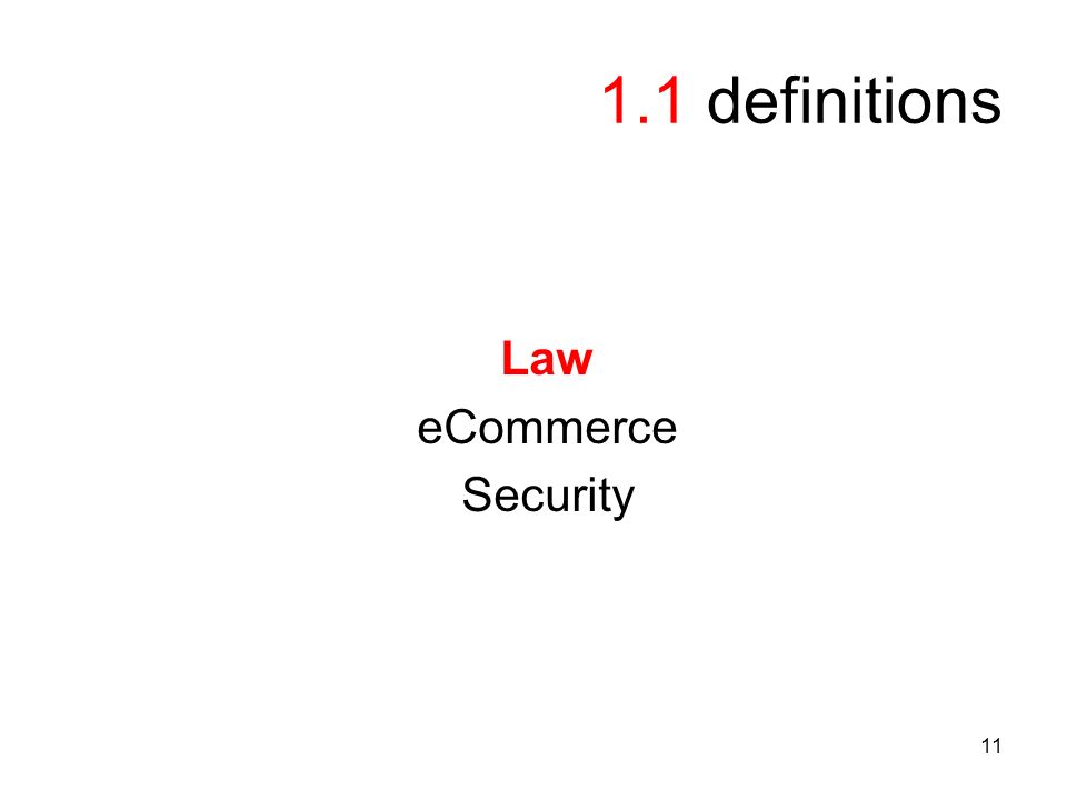 11 1.1 definitions Law eCommerce Security