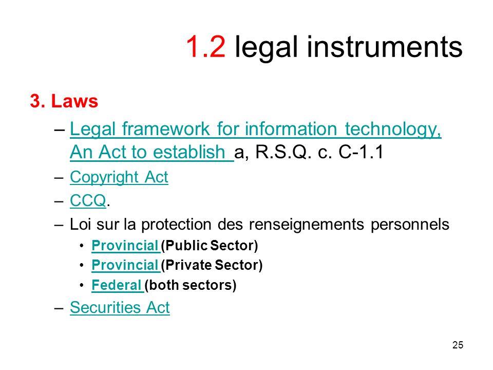 25 1.2 legal instruments 3.