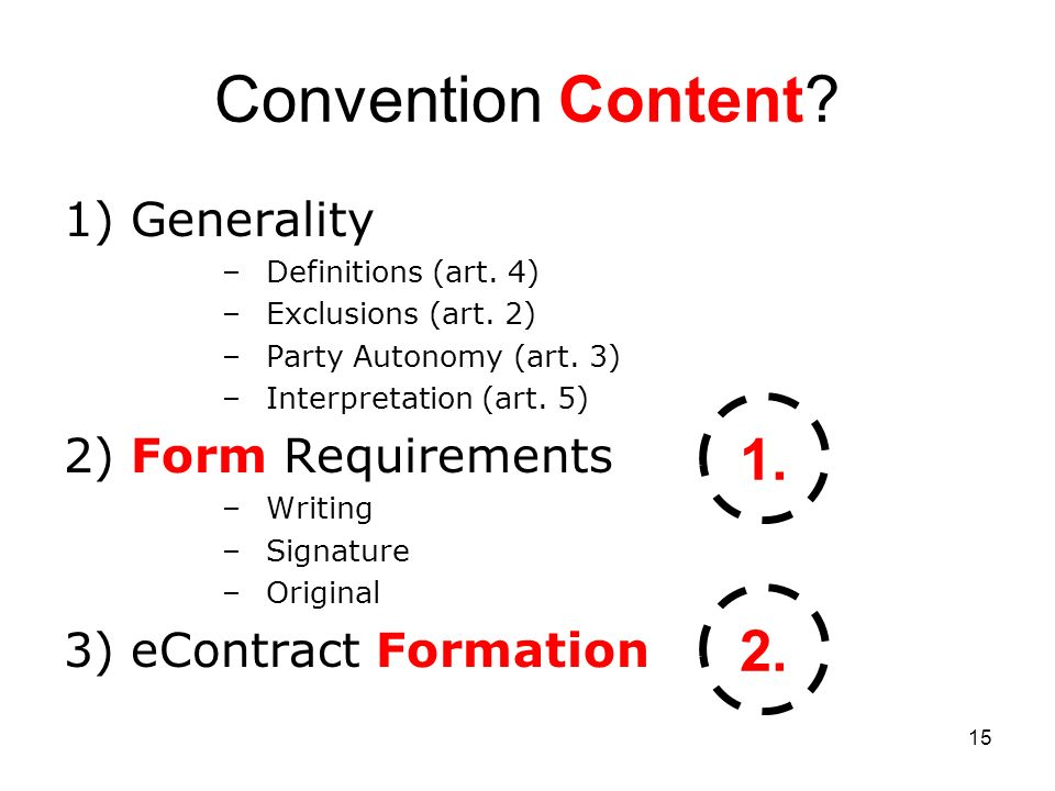 15 Convention Content. 1) Generality –Definitions (art.