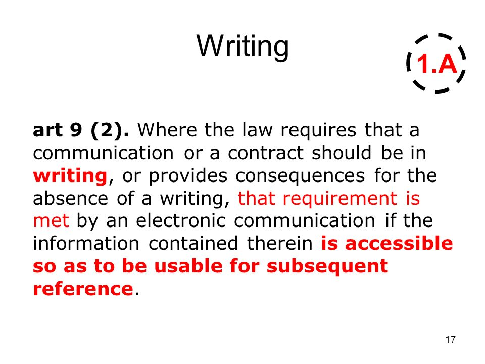 17 Writing art 9 (2). Where the law requires that a communication or a contract should be in writing, or provides consequences for the absence of a wr