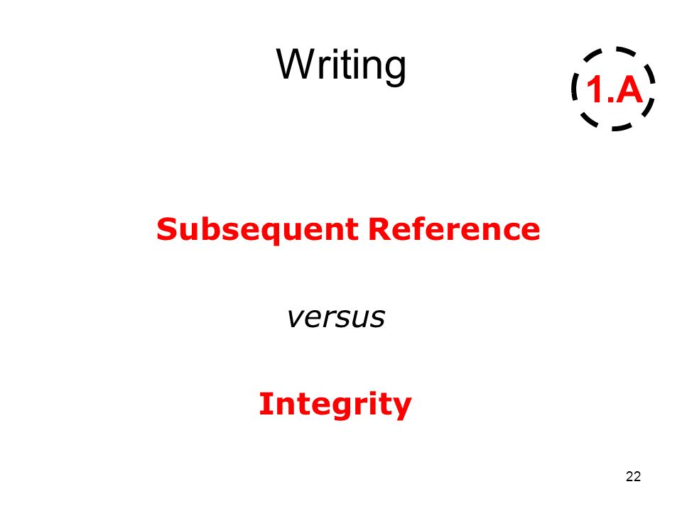 22 Writing Subsequent Reference versus Integrity 1.A
