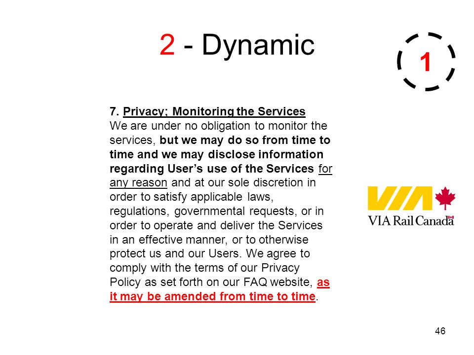 46 2 - Dynamic 7. Privacy; Monitoring the Services We are under no obligation to monitor the services, but we may do so from time to time and we may d