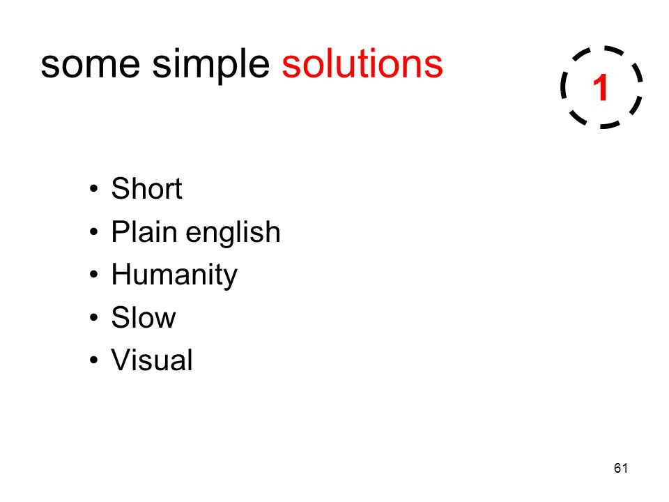 61 some simple solutions Short Plain english Humanity Slow Visual 1