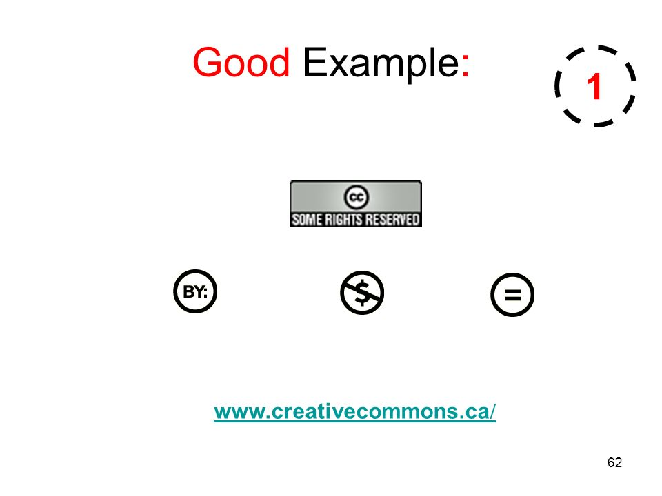 62 Good Example: www.creativecommons.ca / 1