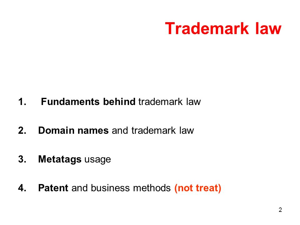 2 Trademark law 1. Fundaments behind trademark law 2.Domain names and trademark law 3.Metatags usage 4.Patent and business methods (not treat)