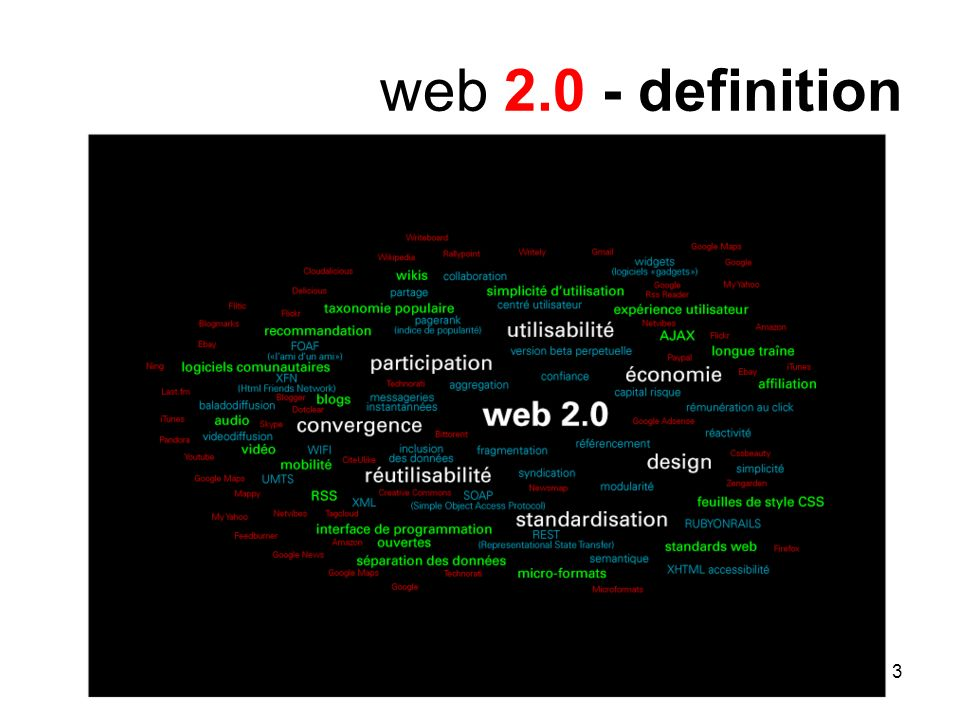 4 web 2.0 - caractéristics participation = community technology = openness (open + free) attitude = iconoclast