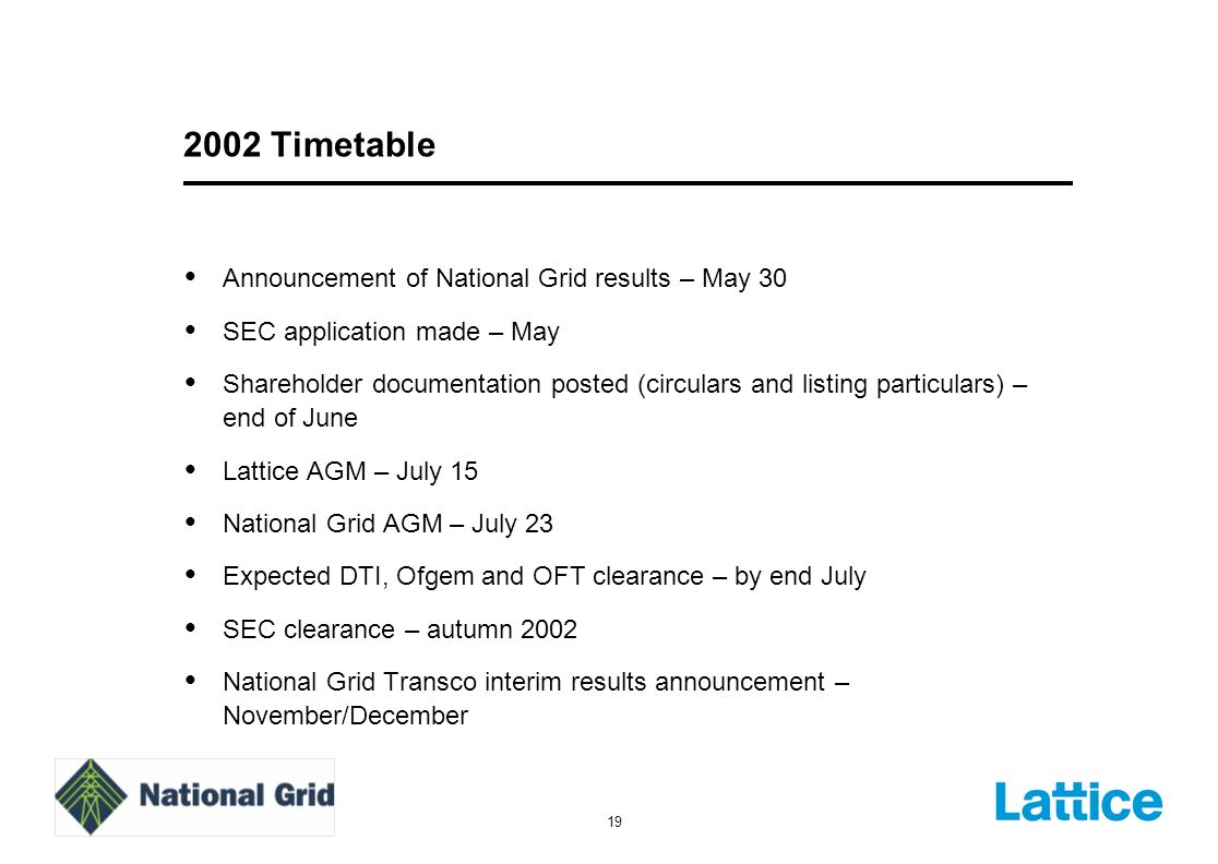 19 2002 Timetable Announcement of National Grid results – May 30 SEC application made – May Shareholder documentation posted (circulars and listing particulars) – end of June Lattice AGM – July 15 National Grid AGM – July 23 Expected DTI, Ofgem and OFT clearance – by end July SEC clearance – autumn 2002 National Grid Transco interim results announcement – November/December