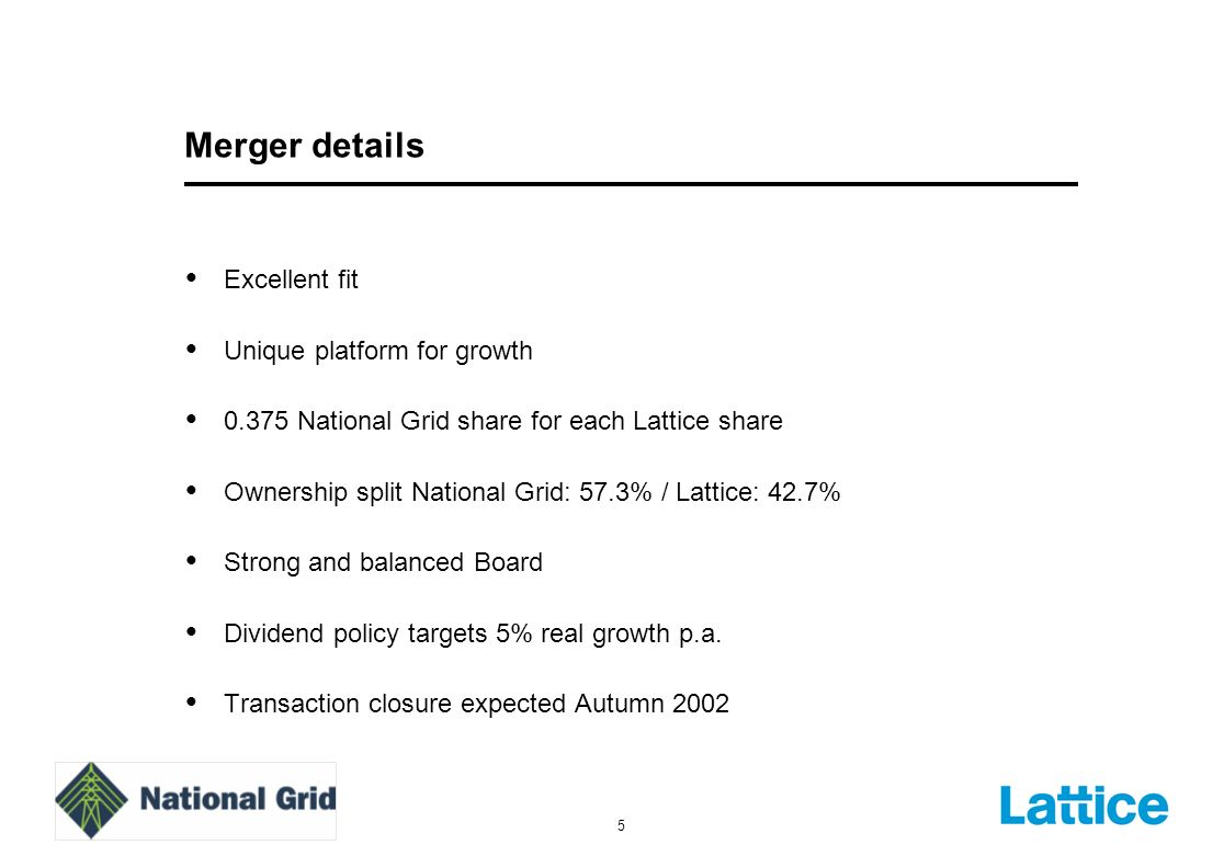 5 Merger details Excellent fit Unique platform for growth 0.375 National Grid share for each Lattice share Ownership split National Grid: 57.3% / Lattice: 42.7% Strong and balanced Board Dividend policy targets 5% real growth p.a.