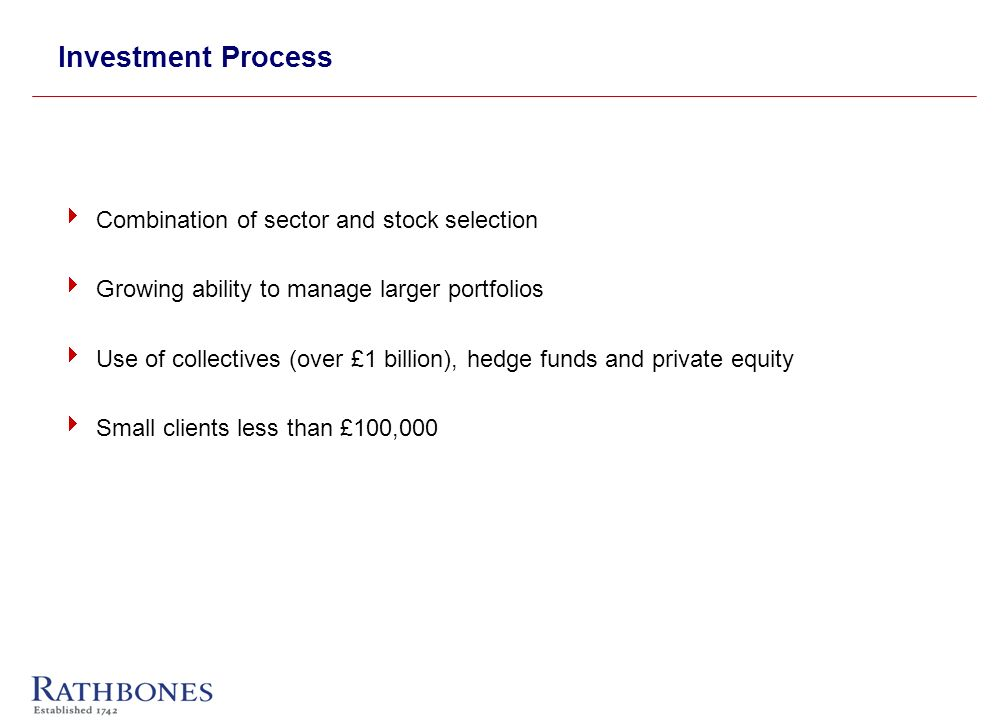 Investment Process Combination of sector and stock selection Growing ability to manage larger portfolios Use of collectives (over £1 billion), hedge funds and private equity Small clients less than £100,000