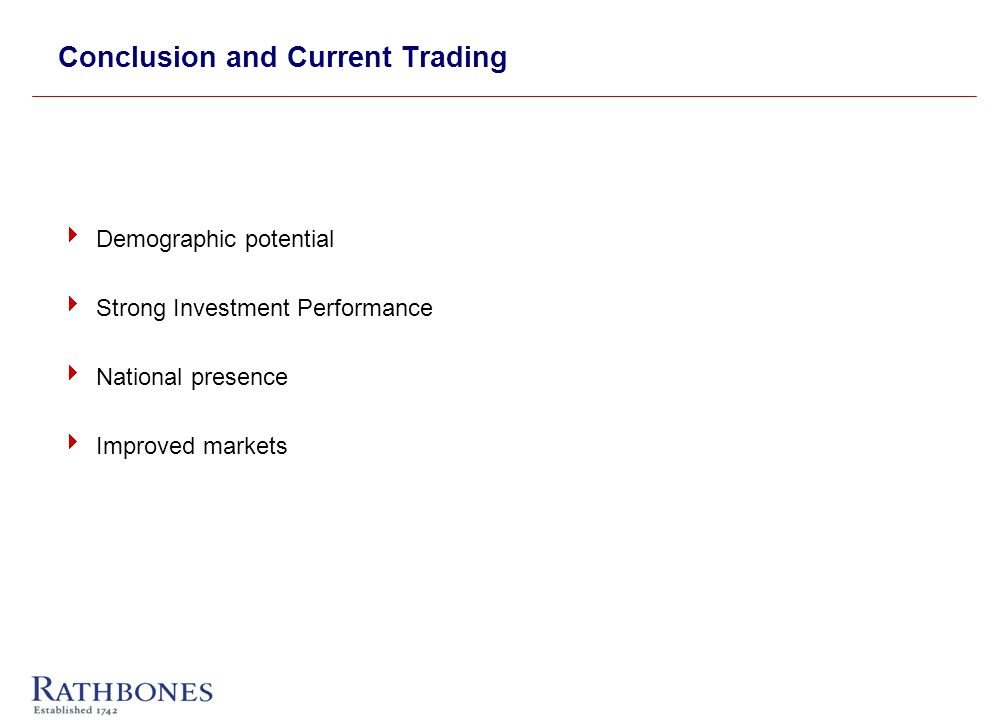Conclusion and Current Trading Demographic potential Strong Investment Performance National presence Improved markets