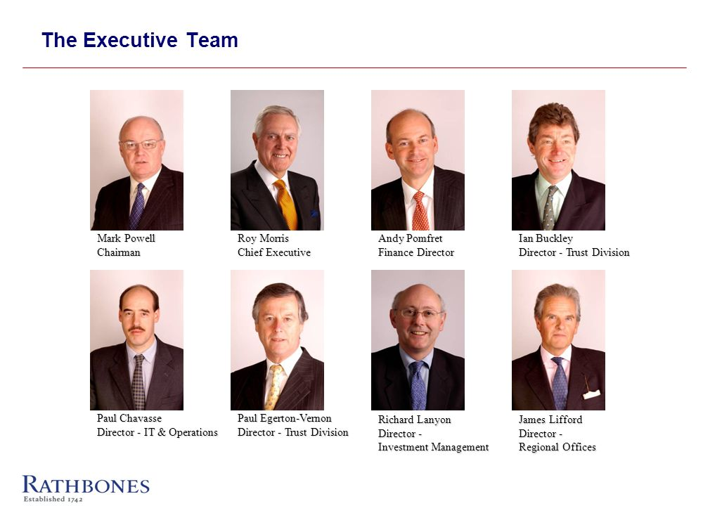 The Executive Team Mark Powell Chairman Roy Morris Chief Executive Andy Pomfret Finance Director Richard Lanyon Director - Investment Management James Lifford Director - Regional Offices Paul Egerton-Vernon Director - Trust Division Paul Chavasse Director - IT & Operations Ian Buckley Director - Trust Division