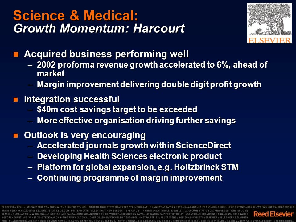 Science & Medical: Growth Momentum: Harcourt Acquired business performing well Acquired business performing well –2002 proforma revenue growth accelerated to 6%, ahead of market –Margin improvement delivering double digit profit growth Integration successful Integration successful –$40m cost savings target to be exceeded –More effective organisation driving further savings Outlook is very encouraging Outlook is very encouraging –Accelerated journals growth within ScienceDirect –Developing Health Sciences electronic product –Platform for global expansion, e.g.