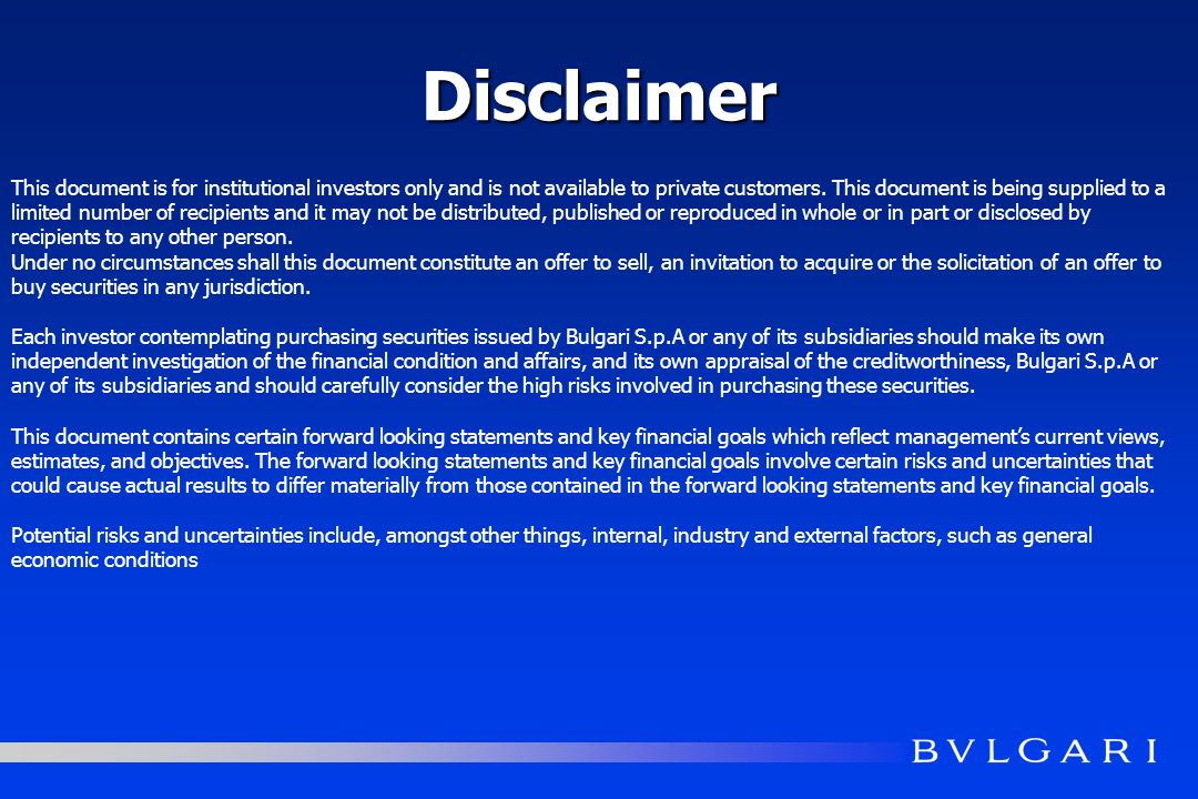Disclaimer This document is for institutional investors only and is not available to private customers.