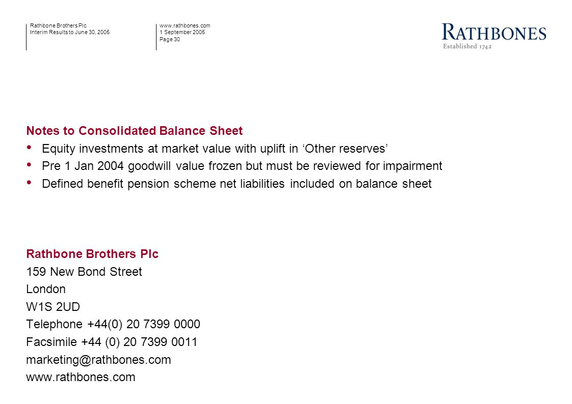 www.rathbones.com 1 September 2005 Page 30 Rathbone Brothers Plc Interim Results to June 30, 2005 Notes to Consolidated Balance Sheet Equity investmen
