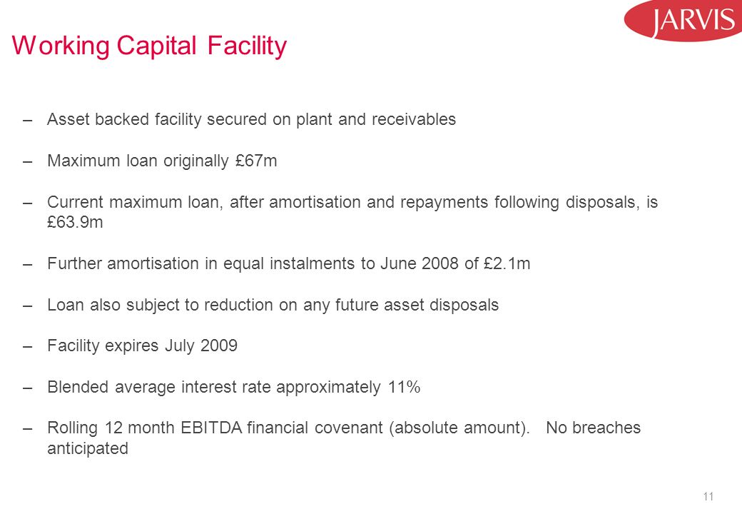 11 Working Capital Facility –Asset backed facility secured on plant and receivables –Maximum loan originally £67m –Current maximum loan, after amortisation and repayments following disposals, is £63.9m –Further amortisation in equal instalments to June 2008 of £2.1m –Loan also subject to reduction on any future asset disposals –Facility expires July 2009 –Blended average interest rate approximately 11% –Rolling 12 month EBITDA financial covenant (absolute amount).