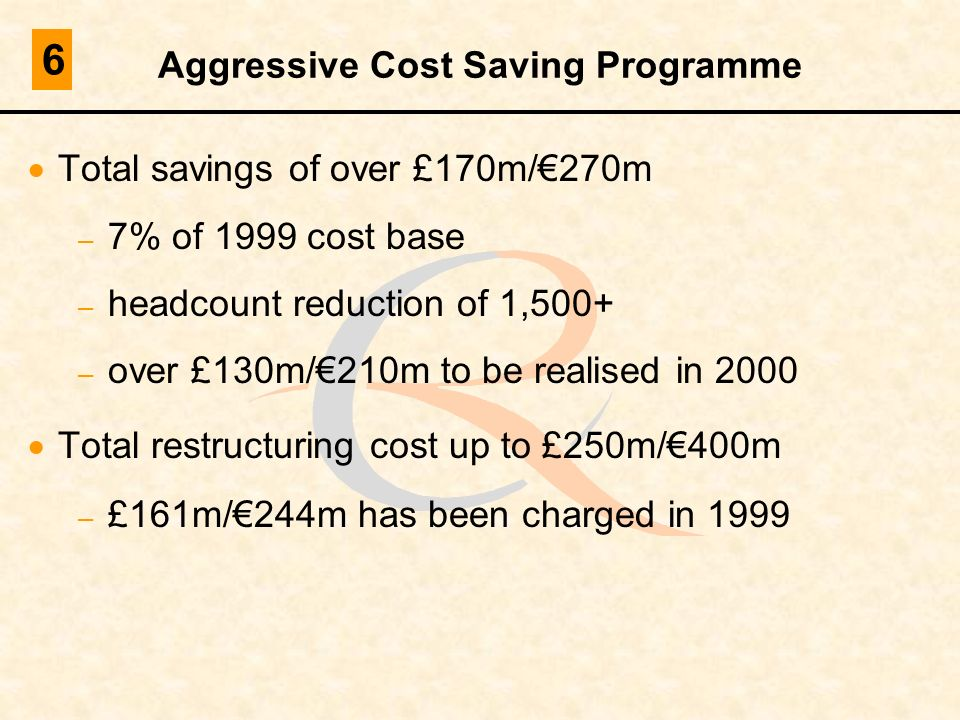 Aggressive Cost Saving Programme Total savings of over £170m/270m – 7% of 1999 cost base – headcount reduction of 1,500+ – over £130m/210m to be reali