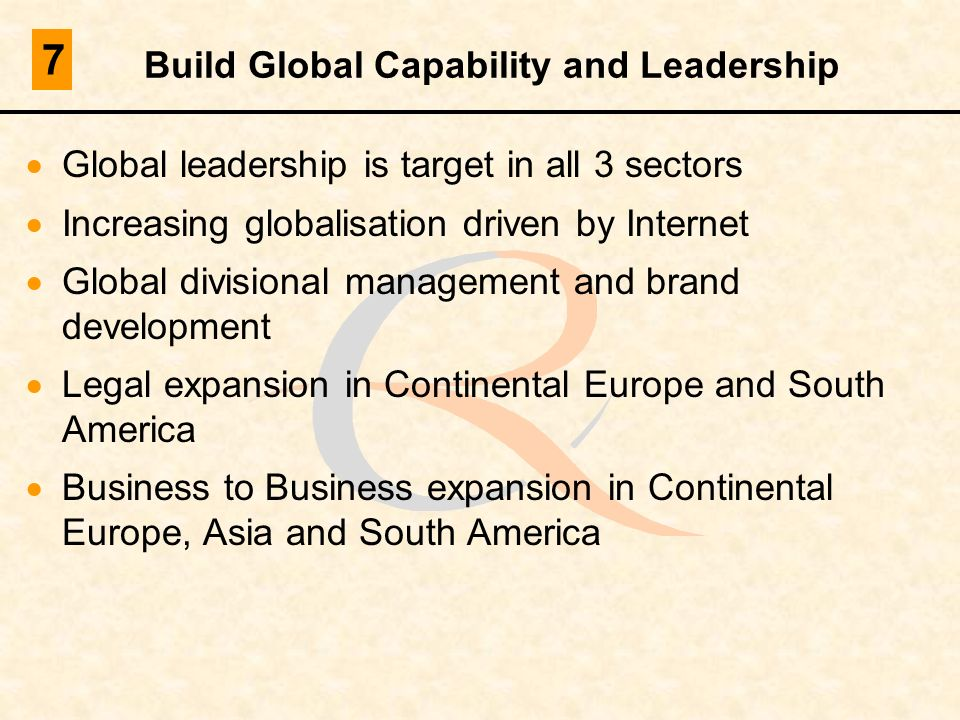 Build Global Capability and Leadership Global leadership is target in all 3 sectors Increasing globalisation driven by Internet Global divisional mana
