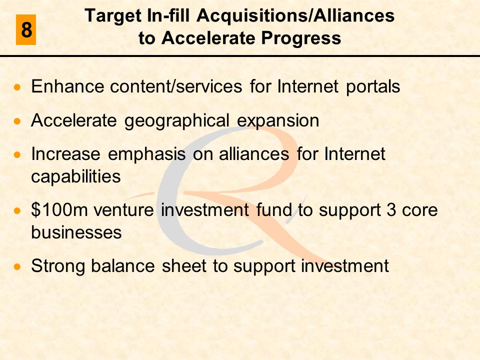 Target In-fill Acquisitions/Alliances to Accelerate Progress Enhance content/services for Internet portals Accelerate geographical expansion Increase
