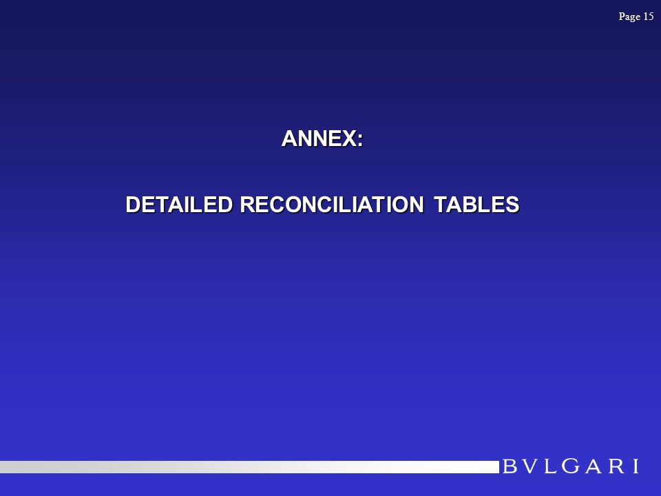 ANNEX: DETAILED RECONCILIATION TABLES Page 15