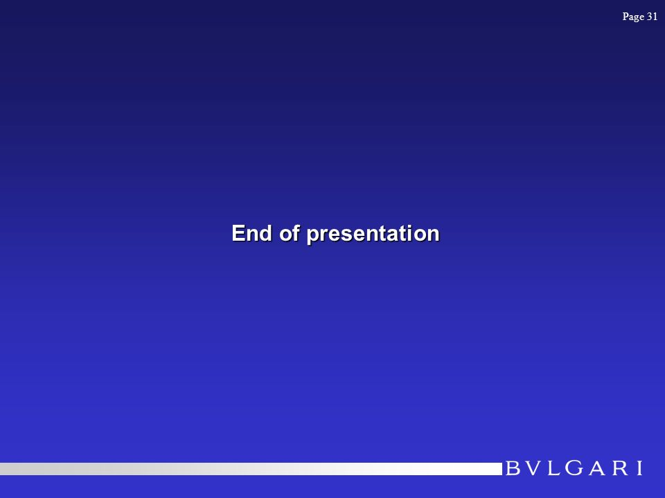 End of presentation Page 31