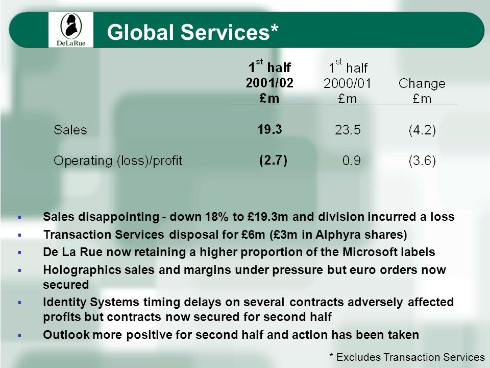 Global Services* Sales disappointing - down 18% to £19.3m and division incurred a loss Transaction Services disposal for £6m (£3m in Alphyra shares) D