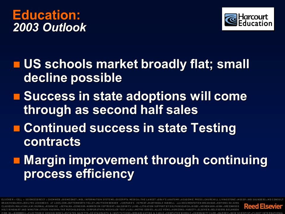 Education: 2003 Outlook US schools market broadly flat; small decline possible US schools market broadly flat; small decline possible Success in state adoptions will come through as second half sales Success in state adoptions will come through as second half sales Continued success in state Testing contracts Continued success in state Testing contracts Margin improvement through continuing process efficiency Margin improvement through continuing process efficiency
