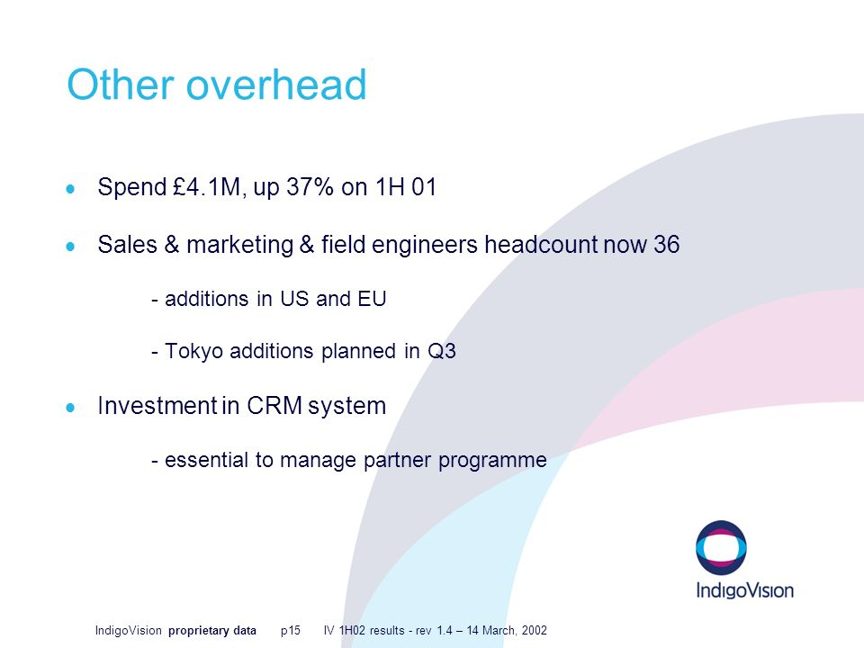 IndigoVision proprietary data p15 IV 1H02 results - rev 1.4 – 14 March, 2002 Other overhead Spend £4.1M, up 37% on 1H 01 Sales & marketing & field engineers headcount now 36 - additions in US and EU - Tokyo additions planned in Q3 Investment in CRM system - essential to manage partner programme