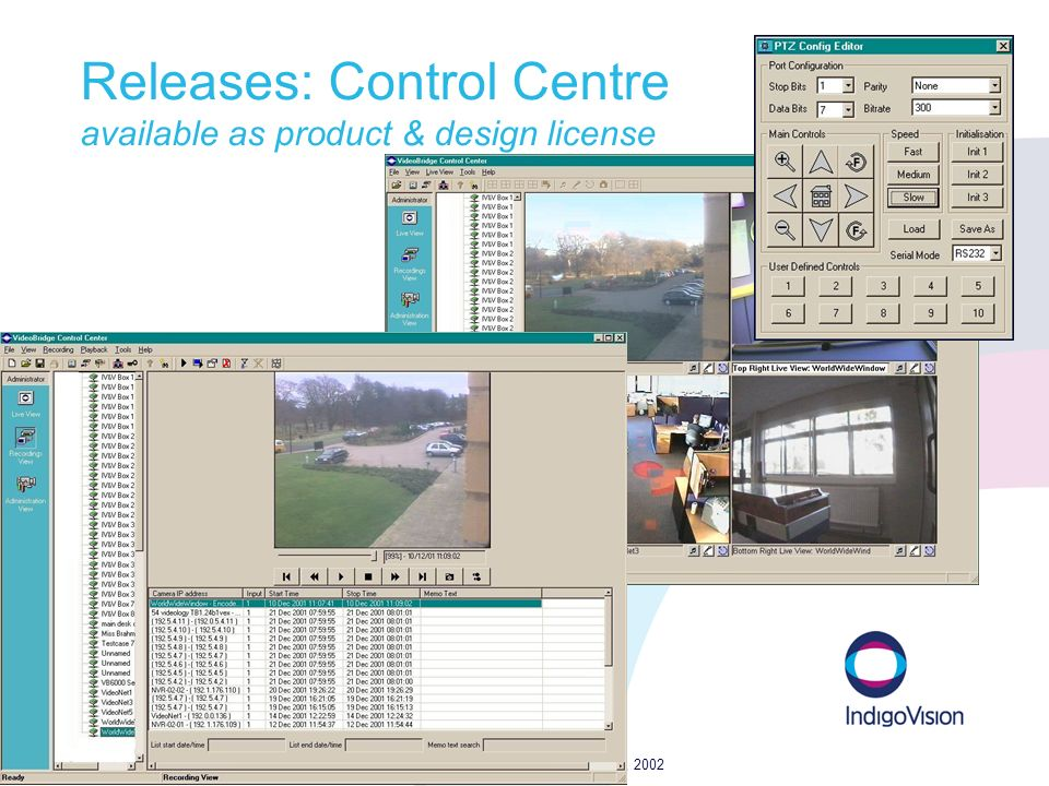 IndigoVision proprietary data p25 IV 1H02 results - rev 1.4 – 14 March, 2002 Releases: Control Centre available as product & design license
