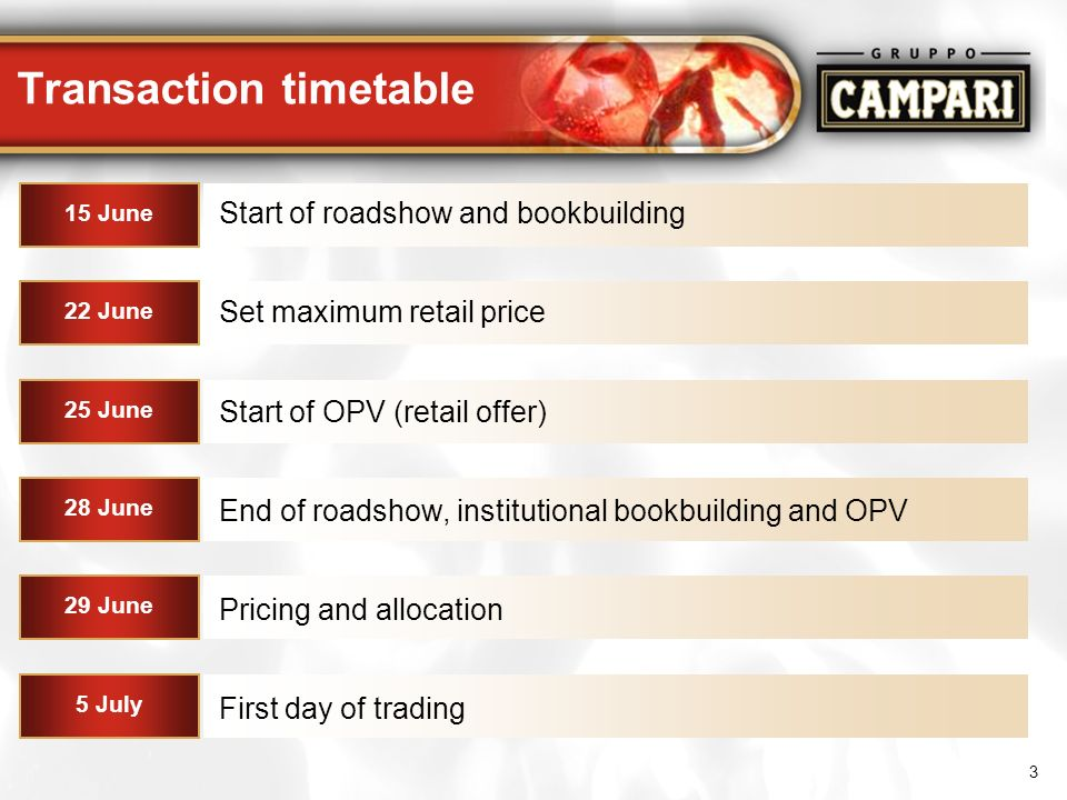 3 Transaction timetable 28 June End of roadshow, institutional bookbuilding and OPV Start of roadshow and bookbuilding 15 June First day of trading 5