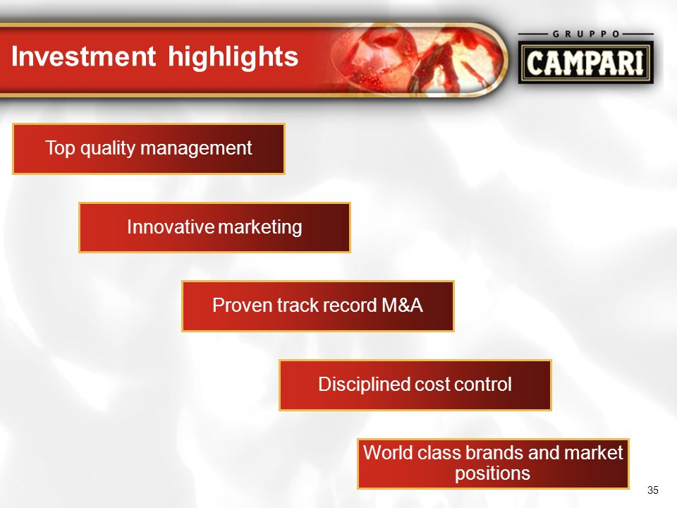 35 Investment highlights Disciplined cost control Innovative marketing Proven track record M&A World class brands and market positions Top quality man