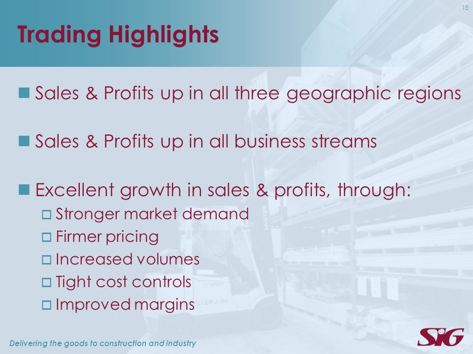 Delivering the goods to construction and industry 18 Trading Highlights Sales & Profits up in all three geographic regions Sales & Profits up in all business streams Excellent growth in sales & profits, through: Stronger market demand Firmer pricing Increased volumes Tight cost controls Improved margins