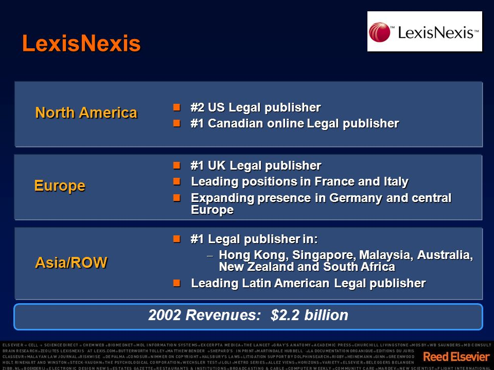 LexisNexis #2 US Legal publisher #2 US Legal publisher #1 Canadian online Legal publisher #1 Canadian online Legal publisher North America #1 UK Legal publisher #1 UK Legal publisher Leading positions in France and Italy Leading positions in France and Italy Expanding presence in Germany and central Europe Expanding presence in Germany and central Europe Europe #1 Legal publisher in: #1 Legal publisher in: Hong Kong, Singapore, Malaysia, Australia, New Zealand and South Africa Hong Kong, Singapore, Malaysia, Australia, New Zealand and South Africa Leading Latin American Legal publisher Leading Latin American Legal publisher Asia/ROW 2002 Revenues: $2.2 billion