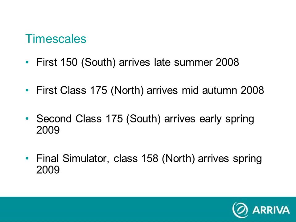 Timescales First 150 (South) arrives late summer 2008 First Class 175 (North) arrives mid autumn 2008 Second Class 175 (South) arrives early spring 2009 Final Simulator, class 158 (North) arrives spring 2009