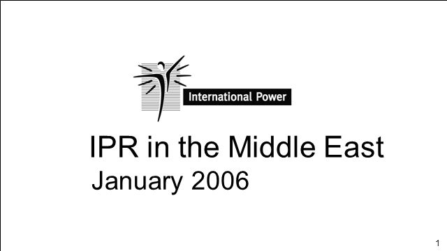 1 IPR in the Middle East January 2006