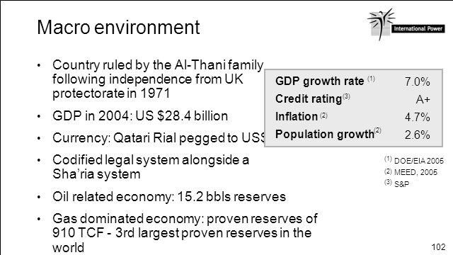 102 Macro environment Country ruled by the Al-Thani family following independence from UK protectorate in 1971 GDP in 2004: US $28.4 billion Currency: