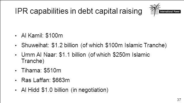 37 IPR capabilities in debt capital raising Non recourse long-term debt Al Kamil: $100m Shuweihat: $1.2 billion (of which $100m Islamic Tranche) Umm A