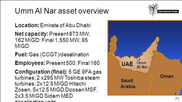 71 Location: Emirate of Abu Dhabi Net capacity: Present 873 MW, 162 MIGD: Final 1,550 MW, 95 MIGD Fuel: Gas (CCGT)/desalination Employees: Present 500