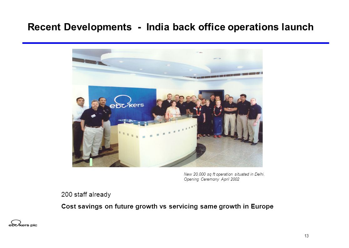 13 Recent Developments - India back office operations launch New 20,000 sq ft operation situated in Delhi.