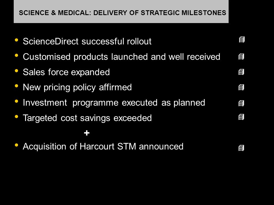 SCIENCE & MEDICAL: DELIVERY OF STRATEGIC MILESTONES ScienceDirect successful rollout Customised products launched and well received Sales force expand