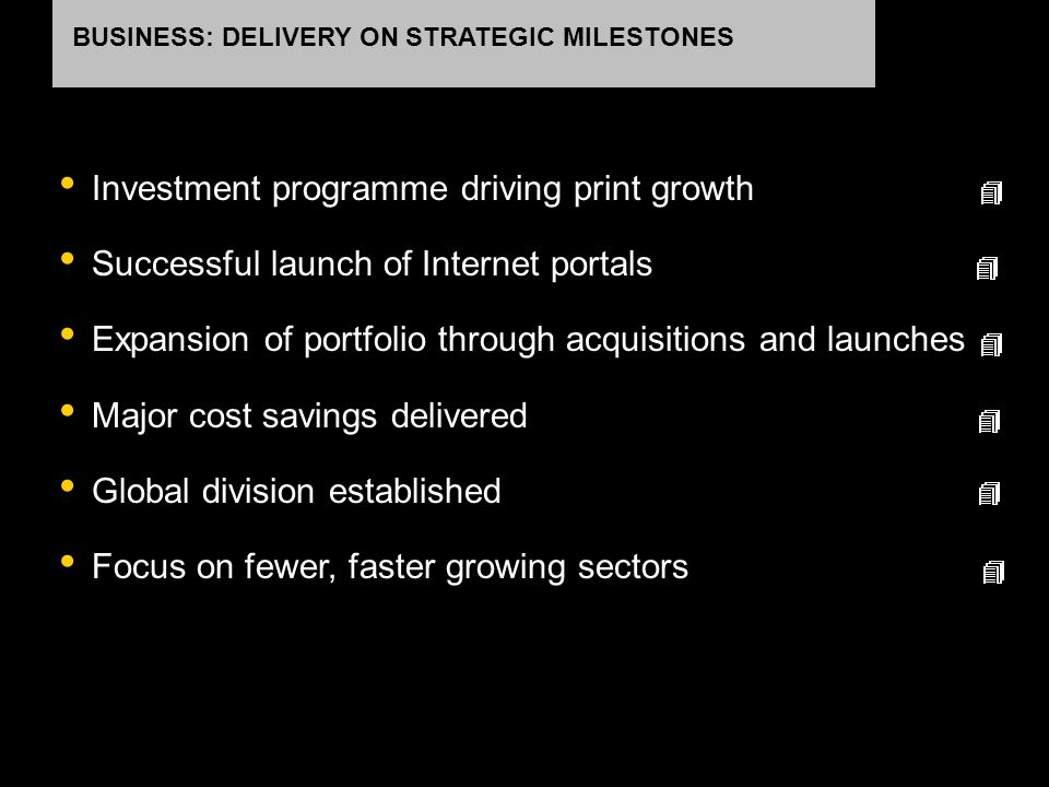 Investment programme driving print growth Successful launch of Internet portals Expansion of portfolio through acquisitions and launches Major cost sa