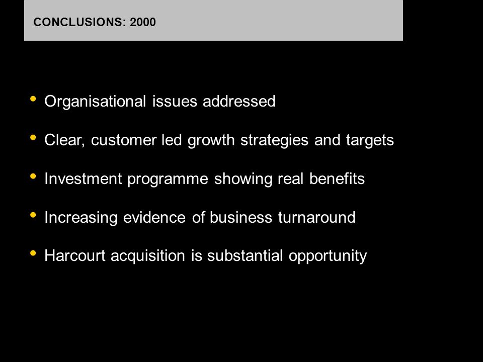 CONCLUSIONS: 2000 Organisational issues addressed Clear, customer led growth strategies and targets Investment programme showing real benefits Increas