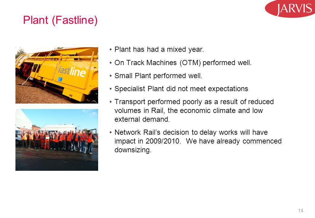 14 Plant (Fastline) Plant has had a mixed year. On Track Machines (OTM) performed well.